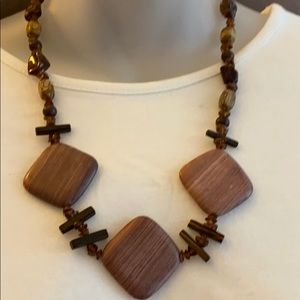 Beautiful natural agates, wood and topaz necklace